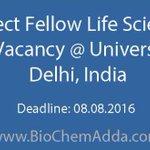 #Project #Fellow #Life #Sciences #Job #Vacancy @ University of #Delhi, #India https://t.co/3x5tIYzC1Q https://t.co/ceOGezkd7u
