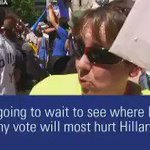 💥BOOM!💥 Bernie supporters says she may vote for Trump. Wants to figure out where her vote HURTS HILLARY THE MOST! https://t.co/bBYMzZJBjo