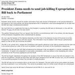 The DAs response to President Zumas statement re Expropriation Bill. https://t.co/OqlXvJivyH