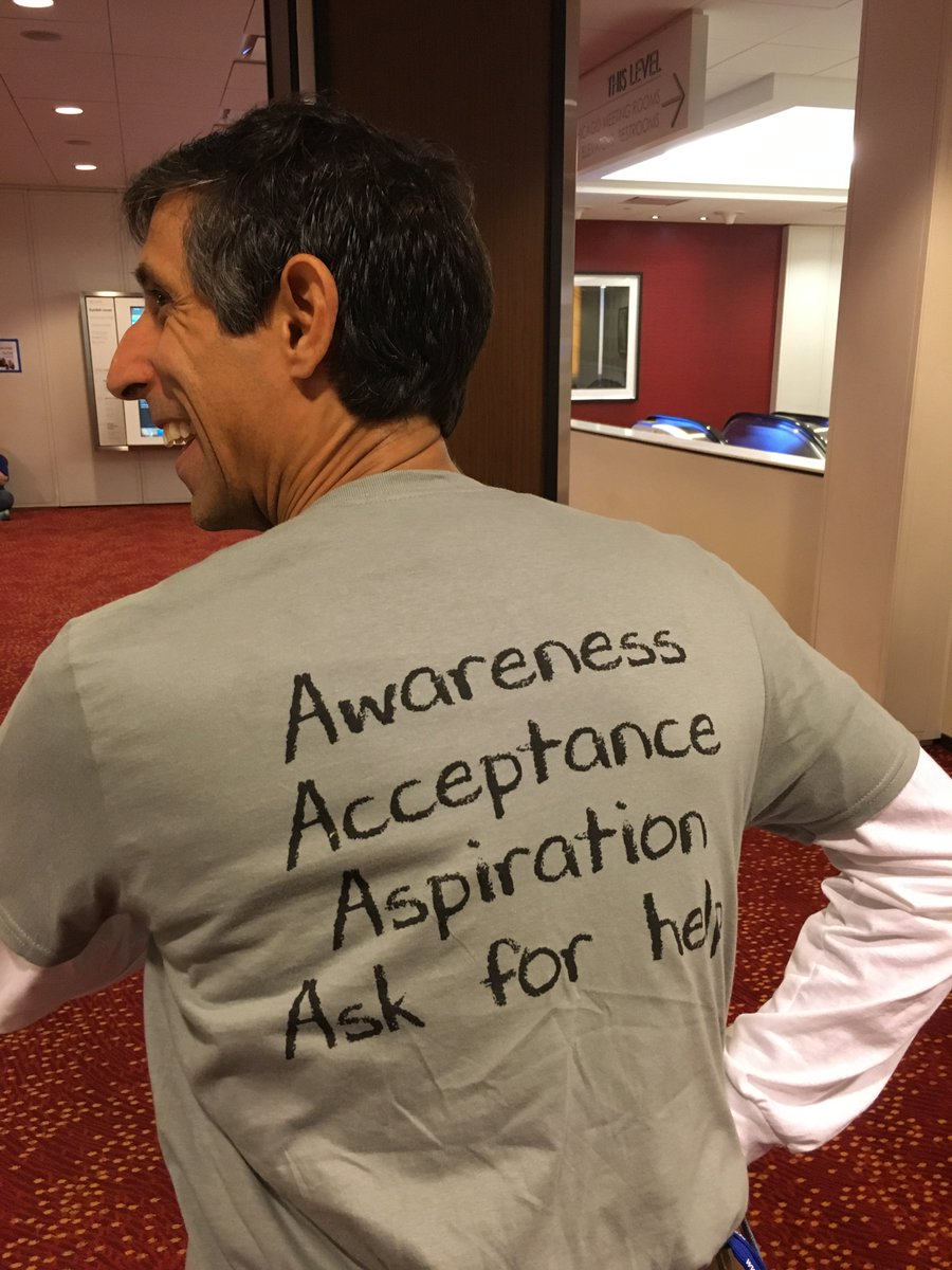 Four A's of leadership growth. Awareness. Acceptance. Aspiration. Ask for help. @MichaelSahota #Agile2016 https://t.co/CcbbE8saVD