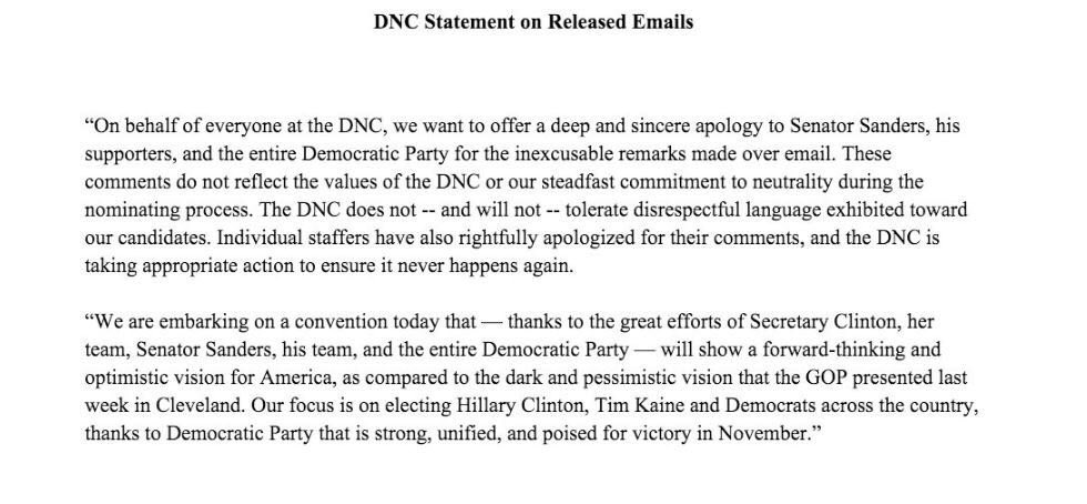 DNCC issues statement on released emails. #DemsInPhilly #DNCleak https://t.co/Jk8h0LlFhZ