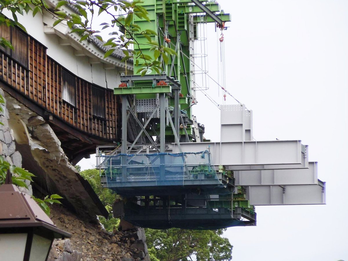 【熊本城復興】 大林組が施工する熊本城・飯田丸五階櫓を修繕する為の巨大アームがいよいよ完成! 凄い!…