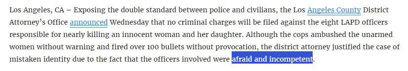 Apparently being incompetent is a justifiable excuse for shooting over 100 rounds at an innocent mother and daughter https://t.co/ctj3fYzFkG