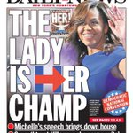 STOP THE PRESSES! New front... THE LADY IS HER CHAMP @FLOTUS speech brings down the house https://t.co/Vs2SmZ9m6z https://t.co/G3VmZzk8Fe