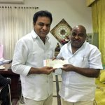 Minister KTR donated his one month salary to #HarithaHaram; handed over  cheque to Forest Minister Sri Jogu Ramanna https://t.co/mueThCna7P