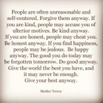 Heres my daily reminder & fave quote from Mother Teresa. Be blessed, friends! #LifeAdvice https://t.co/Ci8PBbHZ0i