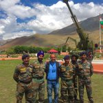 Celebrating the 17th #Kargil Vijay Diwas from War Memorial in Drass, with brave men of Indian Army. Jai Hind! https://t.co/ochiWm8O7N