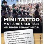 Haloo #Helsinki Kiinnostaako sotilasmusiikki? Jos et pääse #Hamina an, niin 1.8.klo 12. #Senaatintori #tattoo https://t.co/kyk7dG8yi0