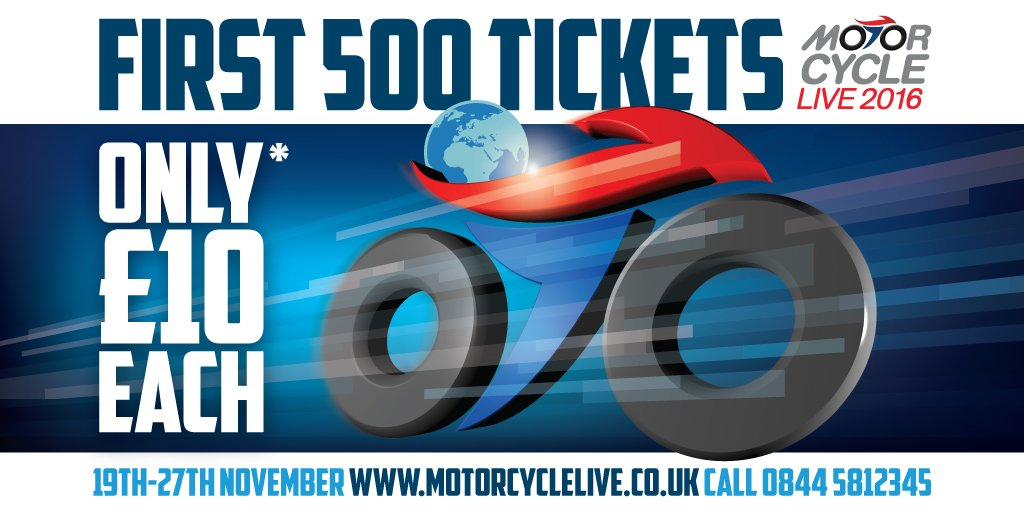 The first 500 #MotorcycleLive tickets will be just £10 each*! On sale 9am, Mon 1 Aug. *£1.50 fulfilment fee applies https://t.co/mi3JlRzseB