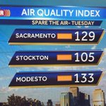 Spare the air day in place. #AirQuality is unhealthy for sensitive groups. #Sacramento #Stockton #Modesto https://t.co/F2X1AkDyuK