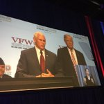 Trump/Pence ticket addressing #VFWConvention now. Pence touts Indianas 500k veteran population. https://t.co/qa0Miw9yGt