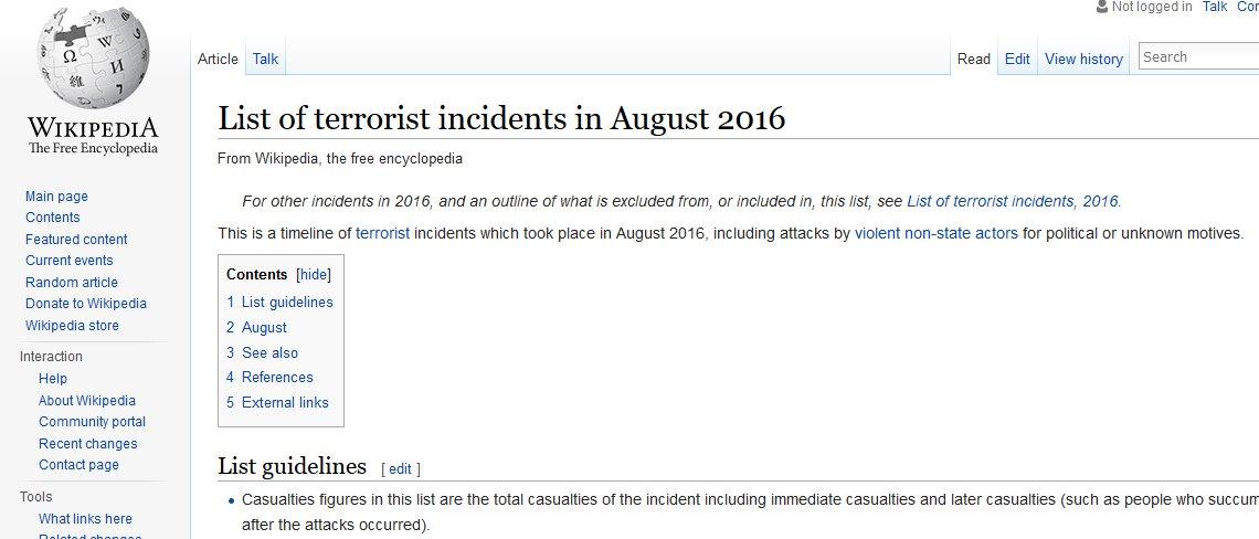 #译自法语推 悲观的 Wikipedia,已经为八月份准备好了一张恐怖袭击清单。。 https://t.co/fUUZsBlnjR via @ifalas