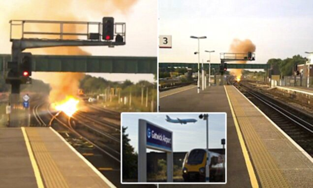 Dramatic footage shows train tracks at Gatwick Airport station on