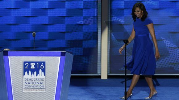 Michelle Obama wore a Christian Siriano dress onstage for her DNC speech (Photo: EPA)