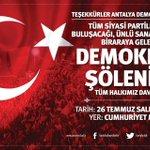 Demokrasi Şölenine Tüm Halkımız Davetlidir... #GünBirlikGünüdür #MeydanlarÇokGüzelGelsenize https://t.co/qURqhYaOfh