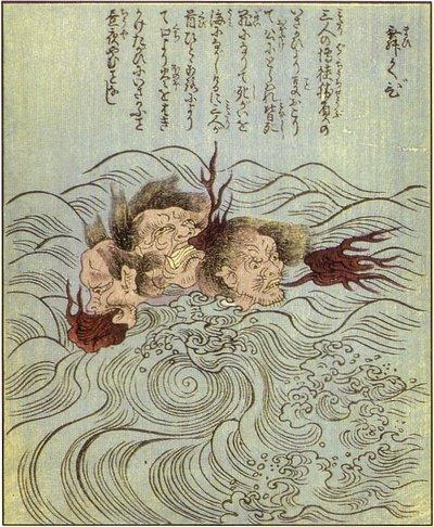 test ツイッターメディア - 【舞首(マイクビ)】3人の武士がおり祭の日、酒の勢いで3人が口論となり、やがて刀の斬り合いとなった。首だけになっても食い争い、夜には火炎を吹き、昼には海上に巴模様の波を起こした。これが神奈川県真鶴町に伝わる怨霊である。 https://t.co/9gGqP9bC3f