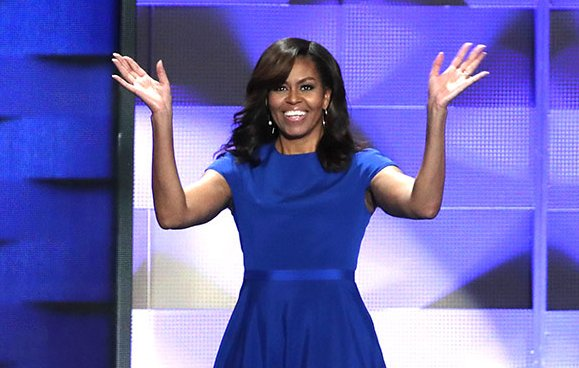 Michelle Obama wore a custom @csiriano dress at the DNC via @People_Style