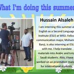 #SummerSpotlight Hussain Alsaleh is interning at ESLI at WKU. In the picture, hes recording a video for ESLI. https://t.co/qkTbCjsLhe