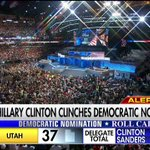 Breaking News: @HillaryClinton officially wins Democratic presidential nomination. #DemsInPhilly #DemConvention https://t.co/vDUz2mLwTT