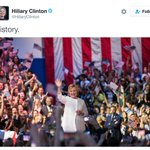 """Clinton tweets simple message upon becoming first woman to secure a major partys presidential nomination: """"History"""" https://t.co/CoK5aveC6c"""