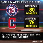 Looking like a terrific night for baseball as the @Indians return to play the Washington Nationals. #3weather https://t.co/1TlbcuoDzl