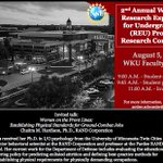 Join us for the #NSF Research Experience for Undergraduates conference on August 5th at the Faculty House @WkuOgden https://t.co/25wU73vHCG