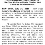 Six-time All-Star Amare Stoudemire announces his retirement after signing with Knicks. https://t.co/TerYKx8qRe