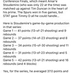 Amare Stoudemires epic performance in the 2005 Western Conference Finals vs Tim Duncan and the Spurs... https://t.co/BibacCTU9S
