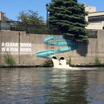 Artwork with a message found on Milwaukee River today. Nice work @mkeriverkeeper! @MKECoSustain @CityofMKE https://t.co/1yVLhVpA56