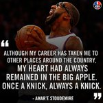 Amare is leaving the NBA a New York Knick. https://t.co/DVUXTvVqYj