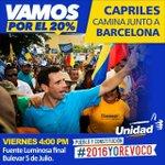 #Barcelona vamos juntos por el #Revocatorio, el próximoo viernes con Capriles a las 4pm en la Fuente Luminosa https://t.co/ZpqdgSYxN5