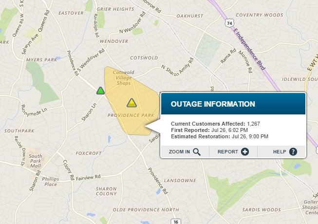 Duke Energy Outage: Duke Energy Outage map reporting 1,354 customers on
