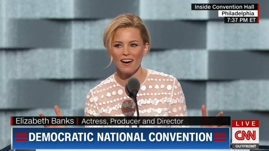 Watch: @ElizabethBanks compare Donald Trump to 'Hunger Games' character at