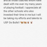 I am committing to the University of South Florida!!!! Go Bulls 🐂🐂🤘🏽🤘🏽@CoachTaggart @CoachWoodie @USFFootball https://t.co/Ai705J2YqD