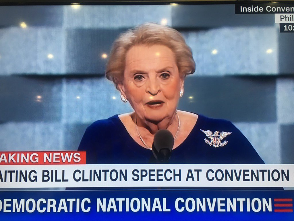 Madeline Albright has on a Dipset brooch. #DemsInPhilly #Harlem https://t.co/sL1LA1qJnl