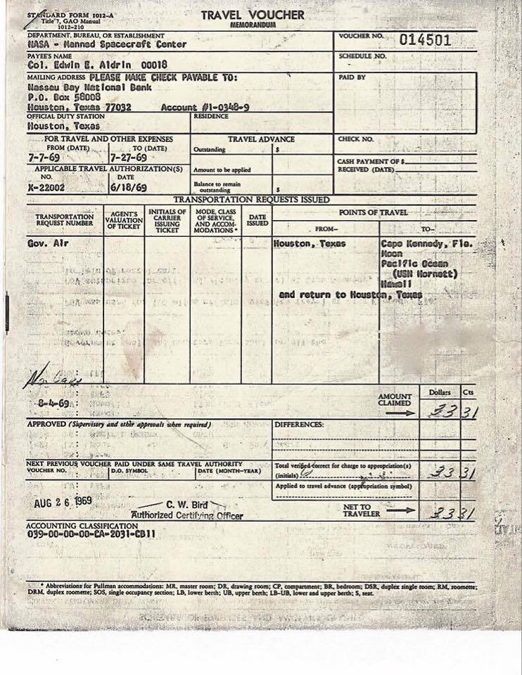 47 years ago I submitted my travel voucher reimbursement for my trip to the moon. #Apollo11 https://t.co/DHAXEYVTHi