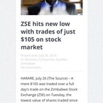 On Tuesday Zimbabwe Stock Exchange (ZSE) recorded total volumes of only $105-00. Yes you read that right.  👇🏿 https://t.co/falicTJtVK