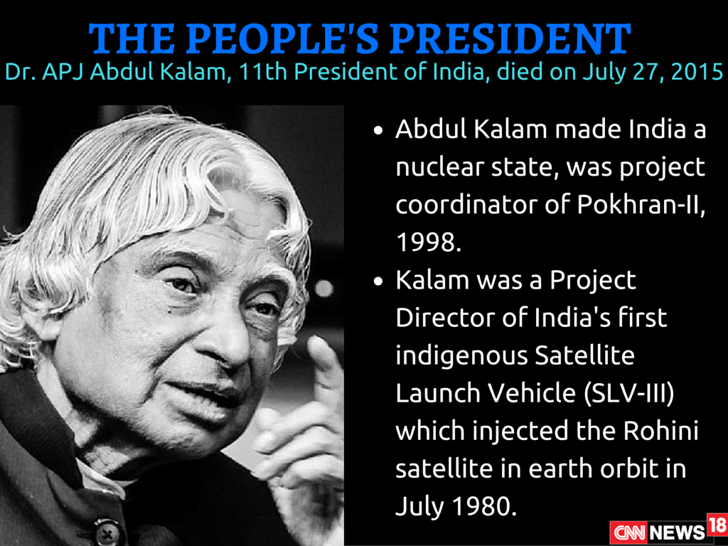contribution of apj abdul kalam towards nation Dr apj abdul kalam (15 oct, 1931 - 27 july, 2015): india's 11th president, dr apj abdul kalam has been often referred to as the 'missile man of india' and was the project director of india.