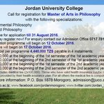 #Admissions MA in Philosophy #JUCO #Morogoro #Tanzania #education #Masters #GainWithXtianDela #philosophy #MGWV #F4F https://t.co/zGnt5sHmou
