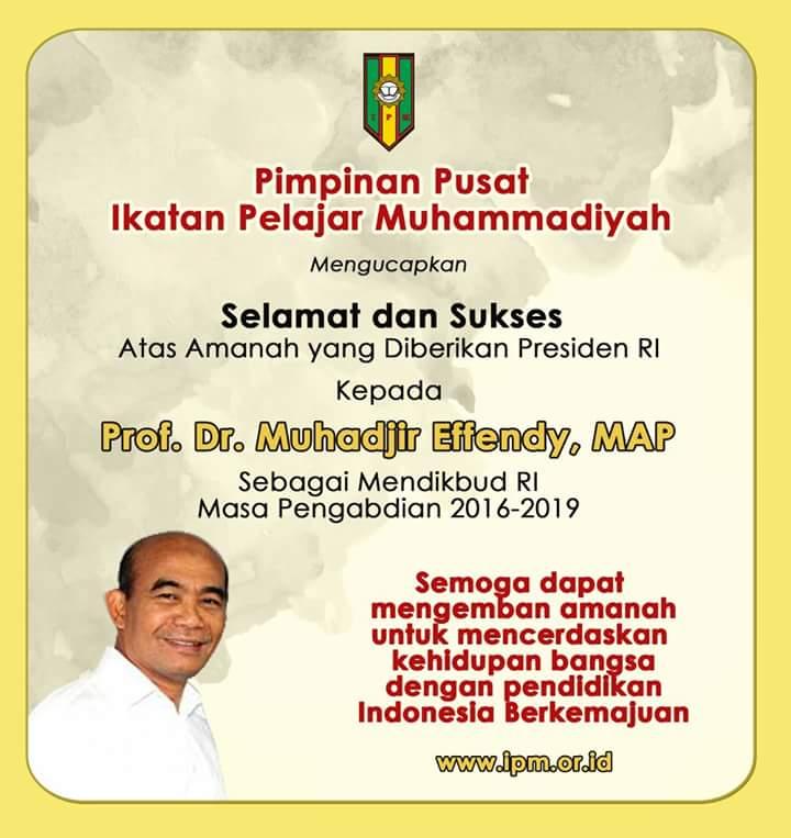Sekali lagi selamat mengemban amanah Pak Muhajir, dan terima kasih pak anies smoga pendidikan Indonesia semakin maju https://t.co/ebM3zcrLX0