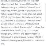 """yixing: """"when I was doing my schedules in China, I have never forgotten that I am an EXO member"""" ❤ https://t.co/eD9oTtEdfj"""