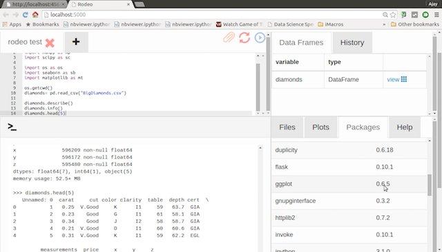 履歴やパッケージ一覧も ~ データ サイエンティスト のための新しい Python 環境 Rodeo / Watch & try out python new IDE for data scientist