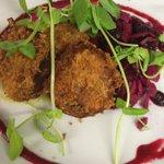 Pork & black pudding rissoles served with pickled red cabbage & spiced apple sauce #nottsfood #lovenotts #nottingham https://t.co/bkPlW2p12J