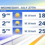 A high of 25 today for #YQR will feel more like 28 with the humidex. @CTVReginaLive #SASK https://t.co/v3Ev5dxPm0