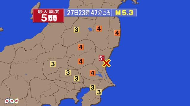 (再掲)先ほど午後11時47分ごろ、茨城県で震度5弱を観測する地震がありました。 www3.nhk.…