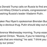 Paul Ryan camp countering Trump, says Putin should stay out of the election: https://t.co/43XCRv6qoB https://t.co/PiH3kRwNxq