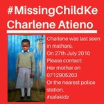 Missing Child: Charlene Atieno last seen in Mathare. if you have any info contact her mother 0712905263. https://t.co/OTJNlvyqvS