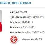 Nico López foi registrado no BID pelo @SCInternacional: https://t.co/tlhuGO4rVb