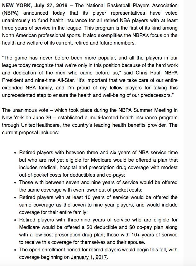 Pretty great: NBA players will fund health care for all retired players with 3+ years of service. https://t.co/cwlrrO2JmJ