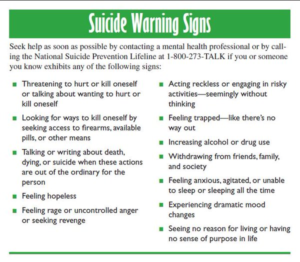 A9: Everyone plays a role in #suicide prevention. Know the warning signs and call @800273TALK. #MyMentalHealth https://t.co/5vl8uzxEeV